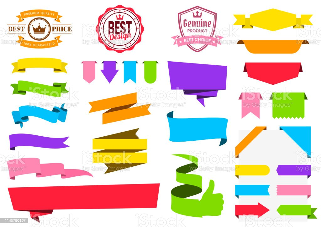 Set Of Colorful Ribbons Banners Badges Labels Design