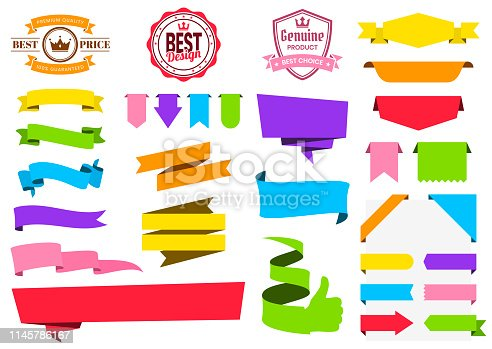 Set of Multicolored ribbons, banners, badges and labels (Red, orange, yellow, green, blue, purple, pink), isolated on a blank background. Elements for your design, with space for your text. Vector Illustration (EPS10, well layered and grouped). Easy to edit, manipulate, resize or colorize.