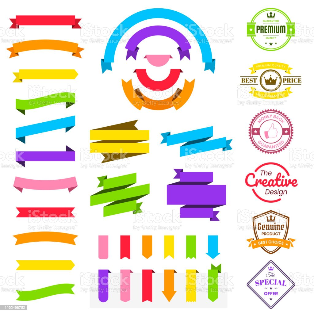 Set Of Colorful Ribbons Banners Badges Labels Design Elements On