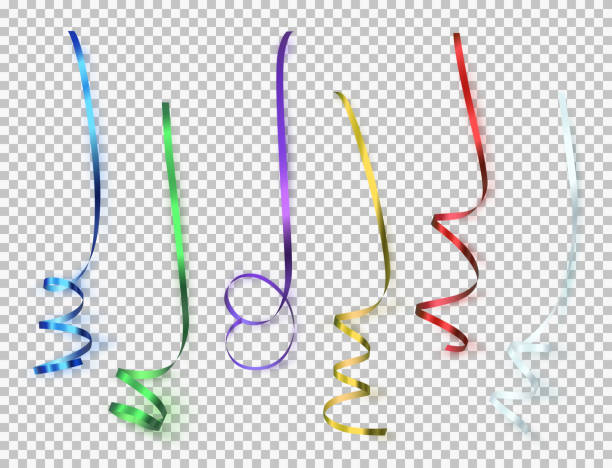 set of colorful ribbons on transparent background. - streamer stock illustrations, clip art, cartoons, & icons