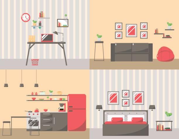 reihe von bunten zimmereinrichtung mit möbel-symbole: wohnzimmer, schlafzimmer, küche und arbeitsplatz. - küchensystem stock-grafiken, -clipart, -cartoons und -symbole
