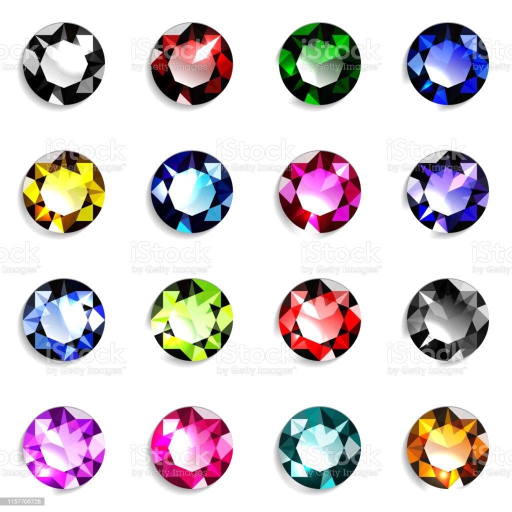 353f94b151c2 Ilustración de Conjunto De Coloridas Piedras Preciosas De Corte ...