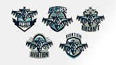 A set of colorful s, badges, emblems of a military fighter plane. Aircraft, air patrol, aviation, sky defenders, bomber, rockets, shield, lettering. Vector illustration.