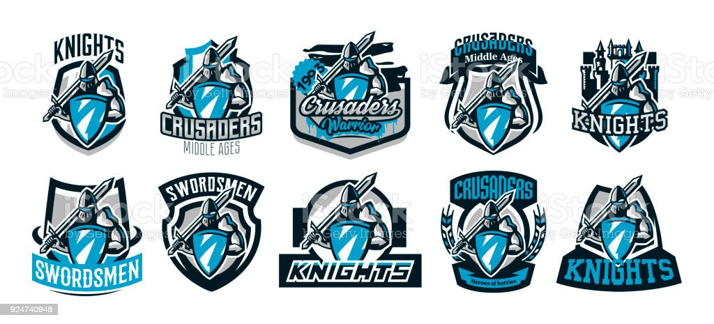 A set of colorful s, emblems of a knight in iron armor. Knight of the Middle Ages, shield, warrior, swordsman, crusader, defender of the fortress. The mascot of the sports club.Vector illustration