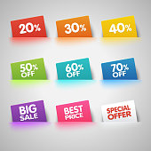 Set of colorful Sale labels in pocket