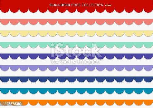Set of colorful scallops stripes seamless repeat pattern geometric design on white background. Vector illustration