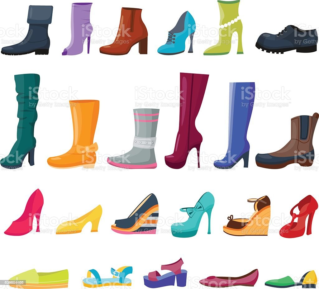 Set of colorful shoes and boots for women and men vector art illustration