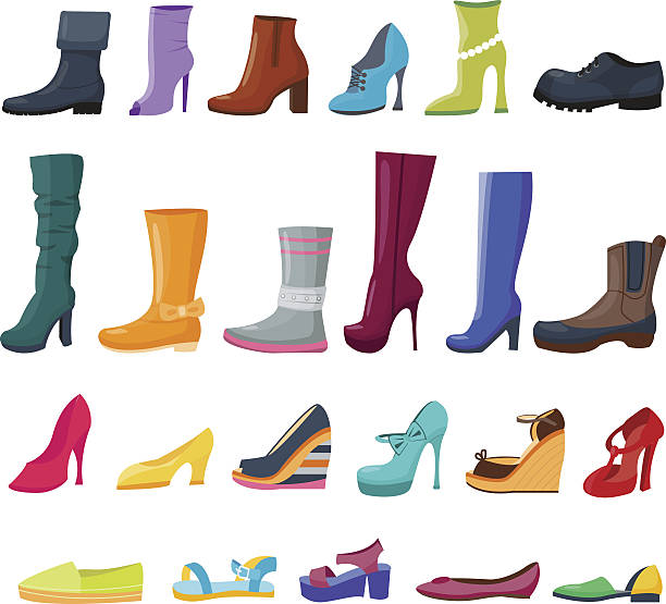illustrations, cliparts, dessins animés et icônes de set of colorful shoes and boots for women and men - chaussure