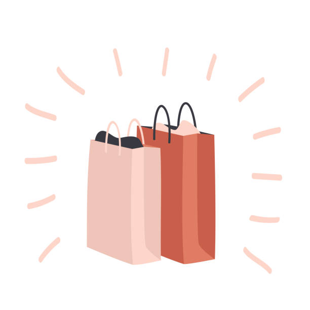 set of colorful shopping bags and packages - kupować stock illustrations