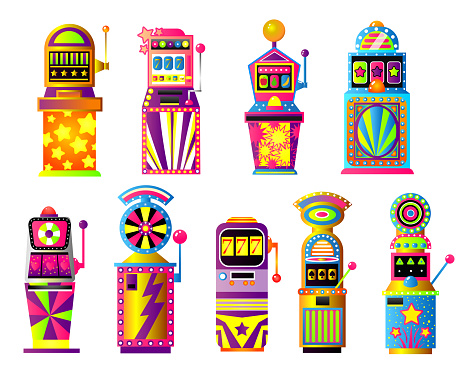 Set of colorful slot machines, lucky, gold city casino