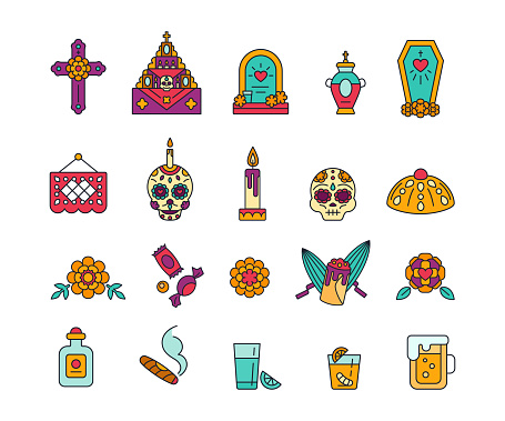 Set of colorful solid icons for celebration of Dia de Muertos. Day of The Dead - Mexican traditional symbols