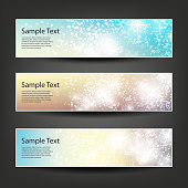 Set of Colorful Sparkling Bright Horizontal Headers and Banners