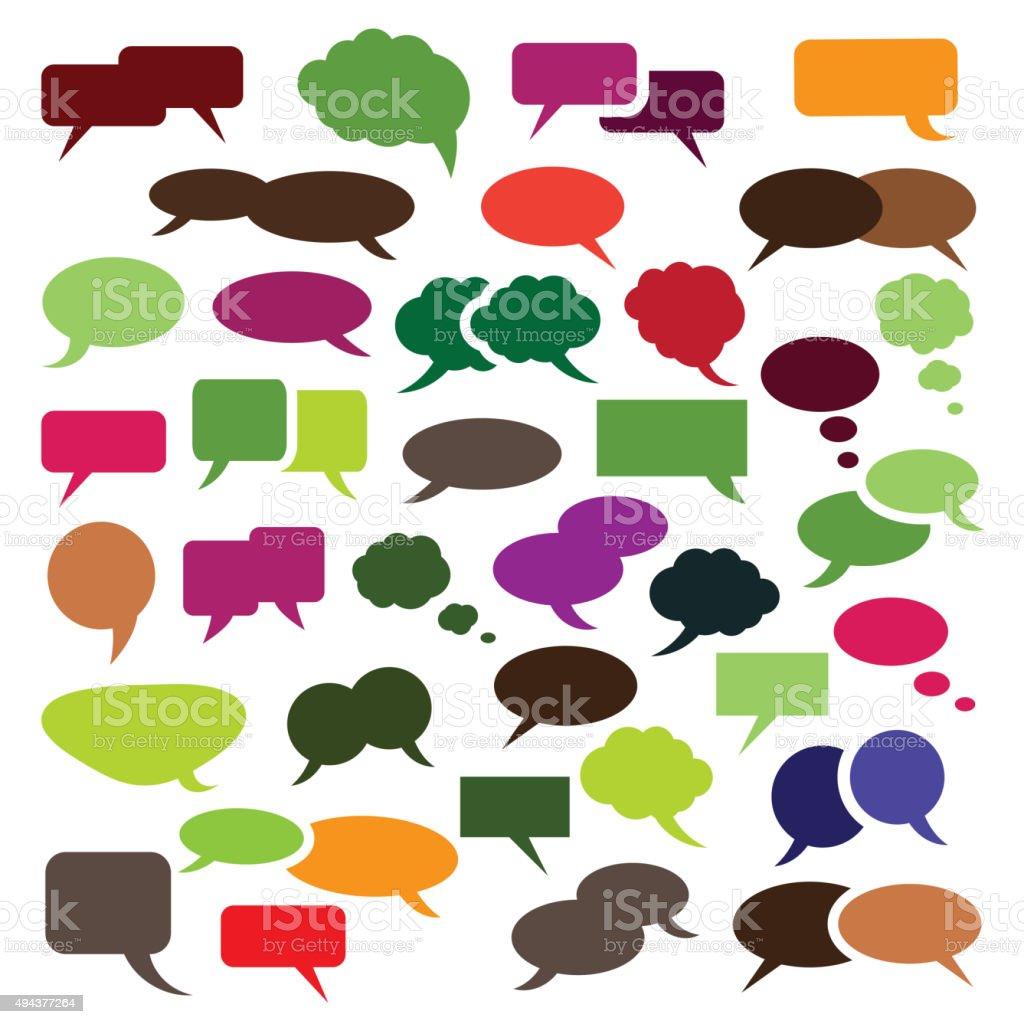 Set of Colorful Speech Bubbles Clip-Art vector art illustration
