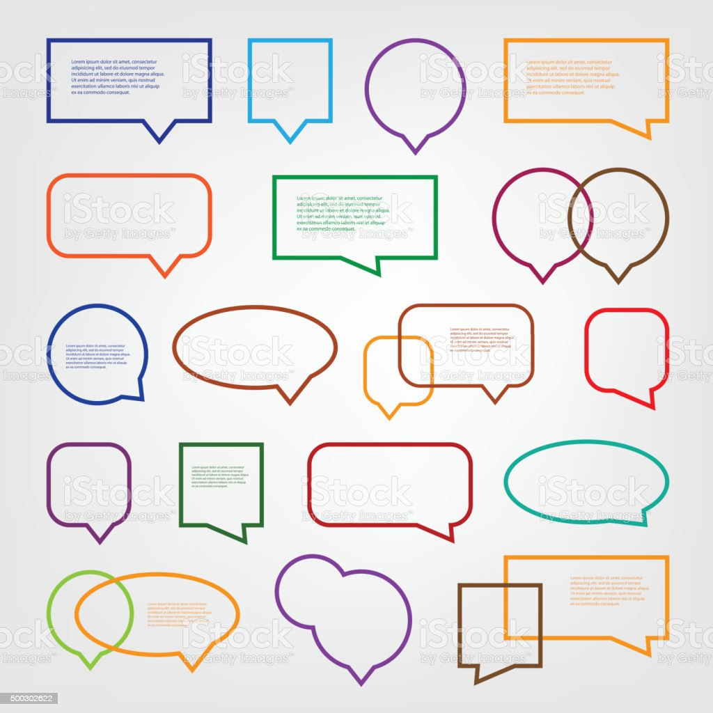 Set of Colorful Speech Bubbles Clip-Art vector art illustration