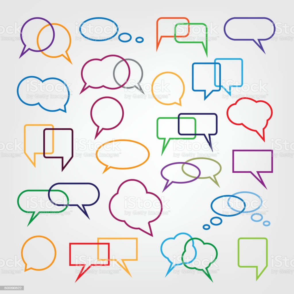 Set Of Colorful Speech Bubbles Clipart Stock Illustration