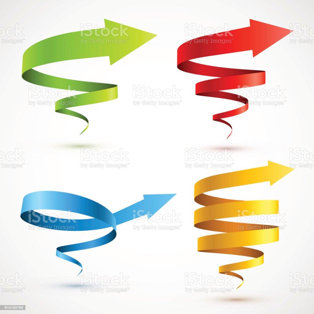 Set of colorful spiral arrows vector art illustration
