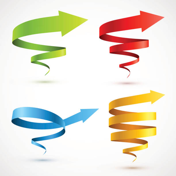 set of colorful spiral arrows - spiral stock illustrations