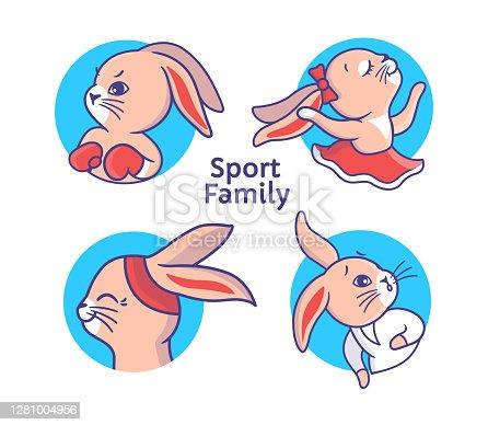 Set of colorful sport bunnies. Cartoon rabbits logo