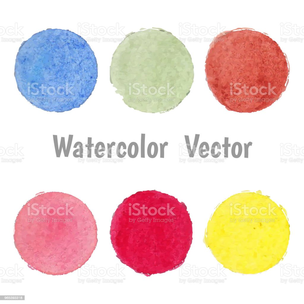 Set of colorful spot watercolor stain vector. royalty-free set of colorful spot watercolor stain vector stock vector art & more images of abstract