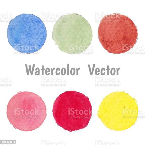 Vetores de Conjunto De Vetor Mancha Aquarela Ponto Colorido e mais imagens de Abstrato
