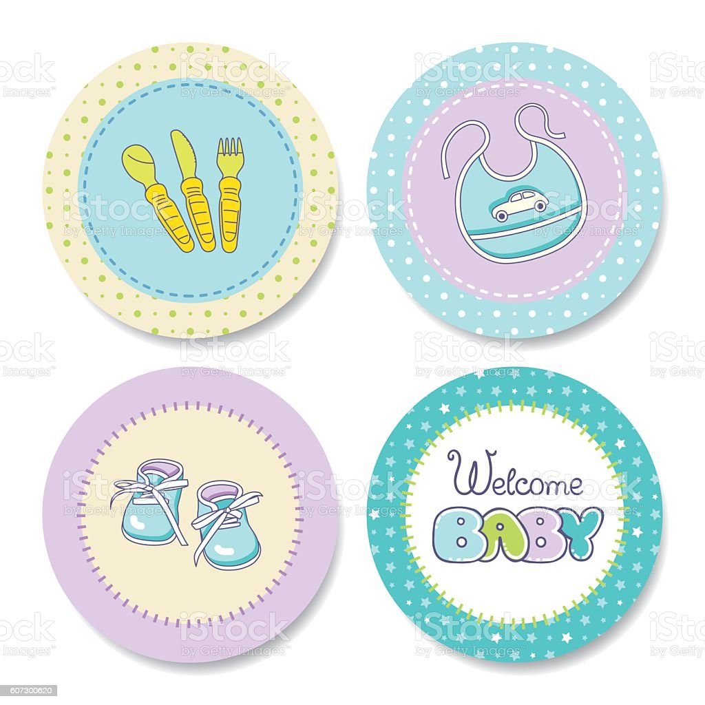 Set of colorful stickers for boy's birthday - Illustration vectorielle