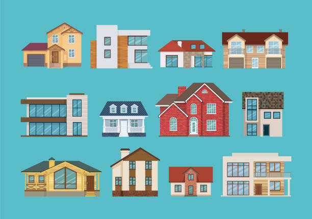 Set of colorful suburban houses and cottages, family vacation houses Set of different colorful suburban houses and cottages, family vacation houses, mansion, real estate in rural area. Facade apartment house. Vector illustration isolated. villa stock illustrations