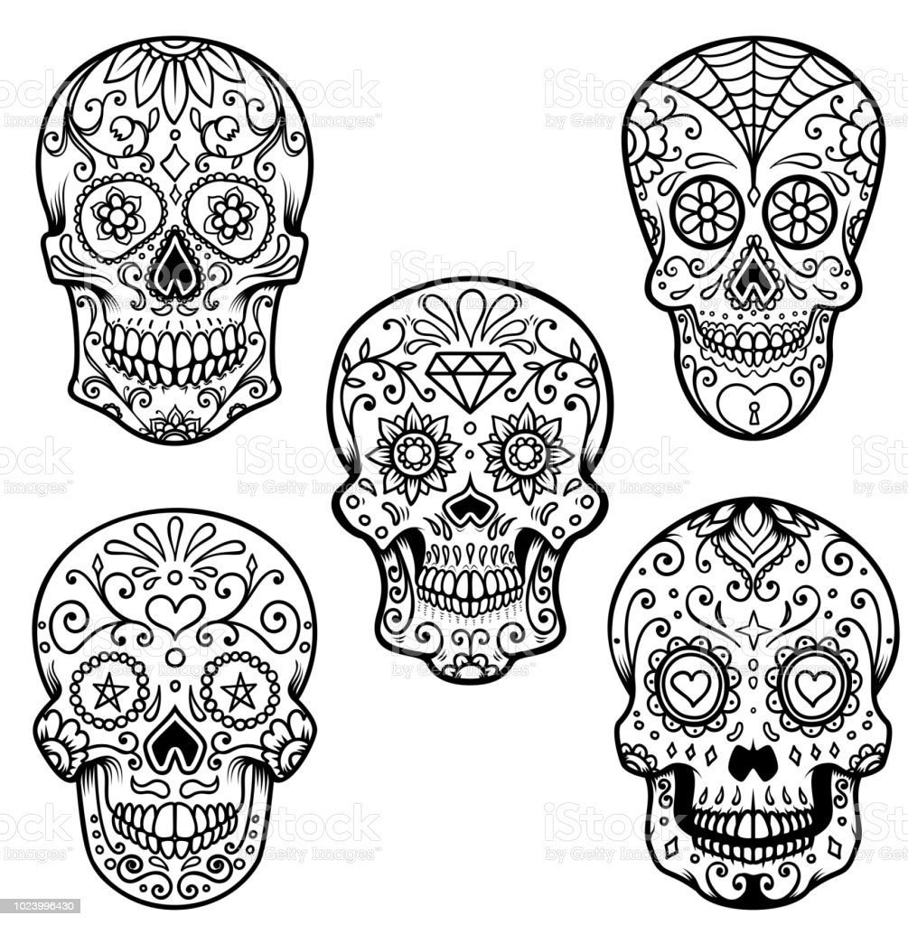 - Set Of Colorful Sugar Skull Isolated On White Background Day Of