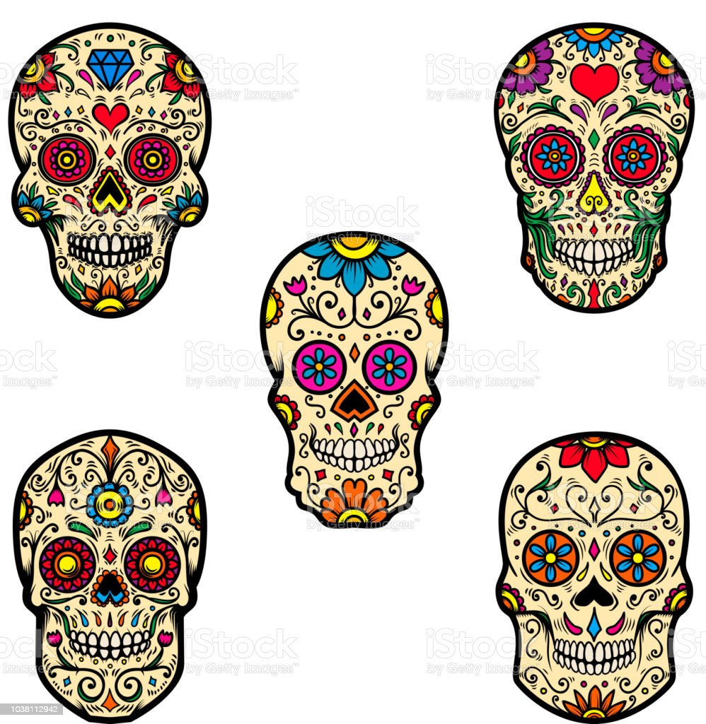 Set Of Colorful Sugar Skull Isolated On White Background ...