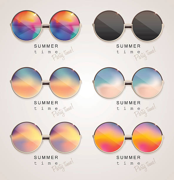 illustrations, cliparts, dessins animés et icônes de set of colorful sunglasses with abstract gradient mesh glass mirrors - lunettes