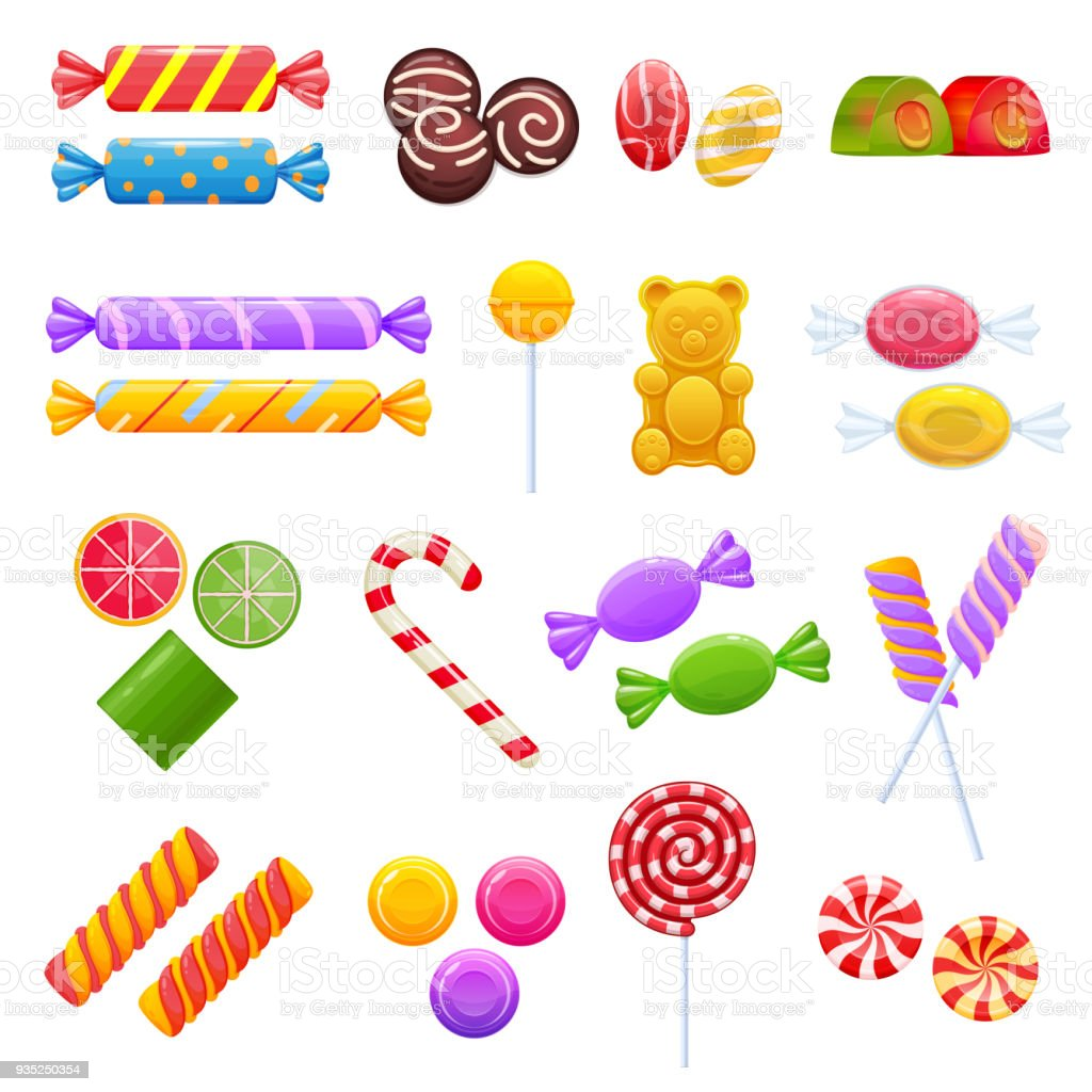 Set of colorful sweet chocolates, desserts, assorted delicious food