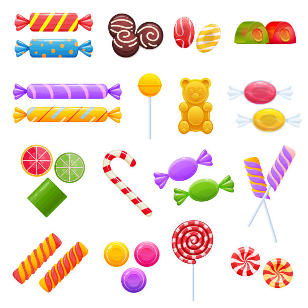 Set of colorful sweet chocolates, desserts, assorted delicious food Set of sweet chocolates, desserts, assorted delicious food. Collection gifts for holidays, birthday, Christmas. Colorful candy, chocolate candy, caramel, jelly bars Vector illustration isolated candy silhouettes stock illustrations