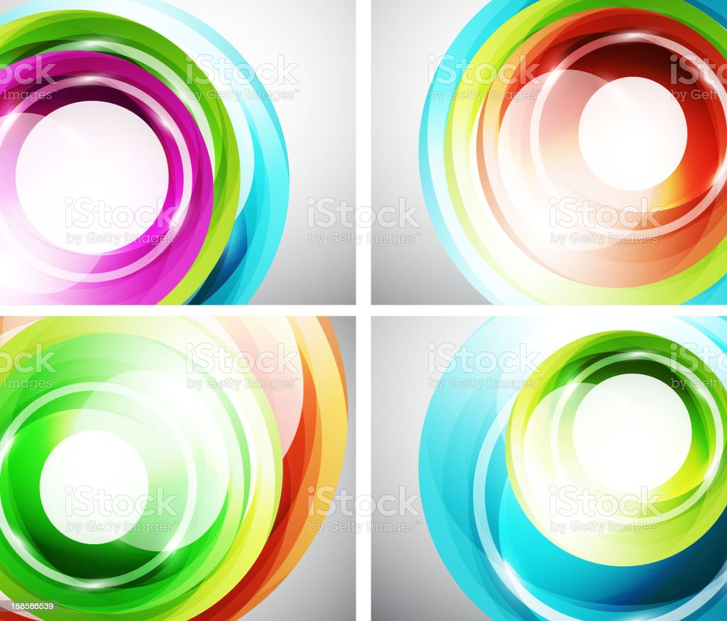 Set of colorful swirl backgrounds royalty-free set of colorful swirl backgrounds stock vector art & more images of abstract