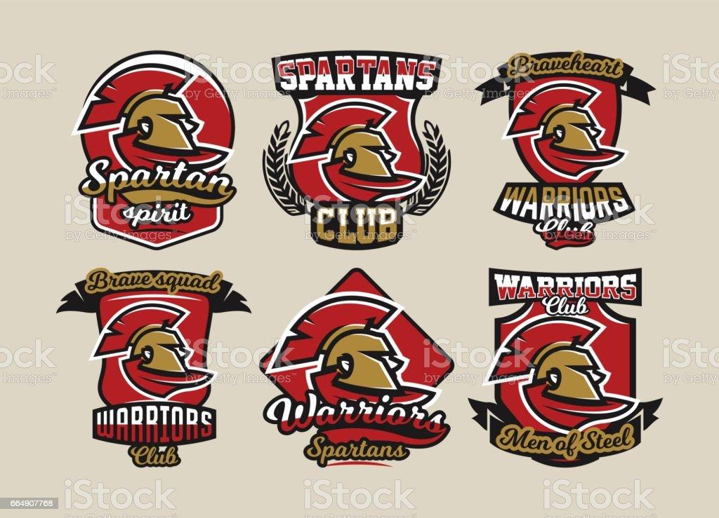 Set Of Colorful Symbols Emblems Spartan Helmet And Cloak