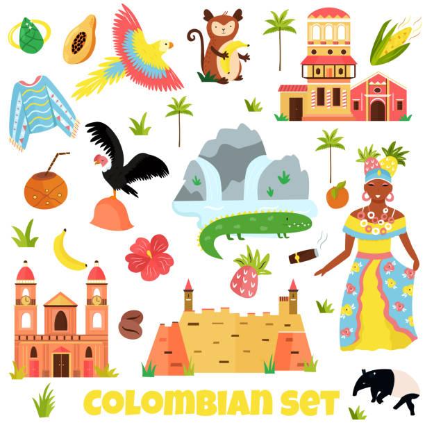 bunte symbole, wahrzeichen kolumbiens - cartagena stock-grafiken, -clipart, -cartoons und -symbole