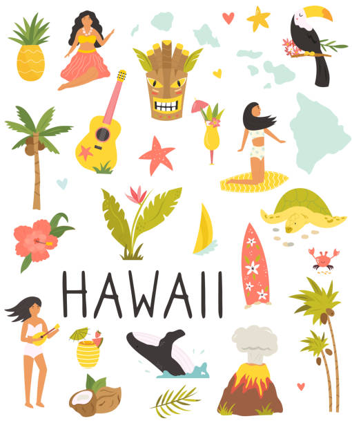 Set of colorful symbols, landmarks of Hawaii. Set of colorful symbols, landmarks, animals of Hawaii. Perfect for advertising, tourist guides travel blogs books, atlases big island hawaii islands stock illustrations