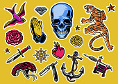 vector of set of colorful tattoo flash