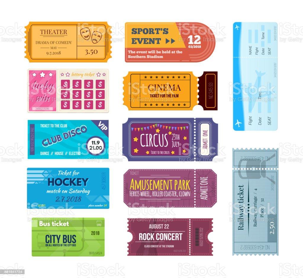 Set of colorful tickets and coupons on various events vector art illustration