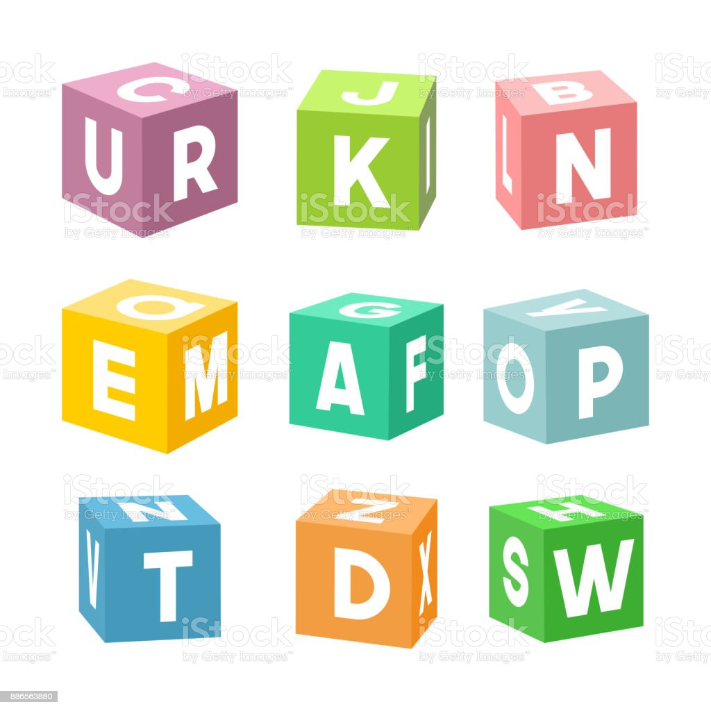 Conjunto de ladrillos de juguete colorido con letras, vector - ilustración de arte vectorial