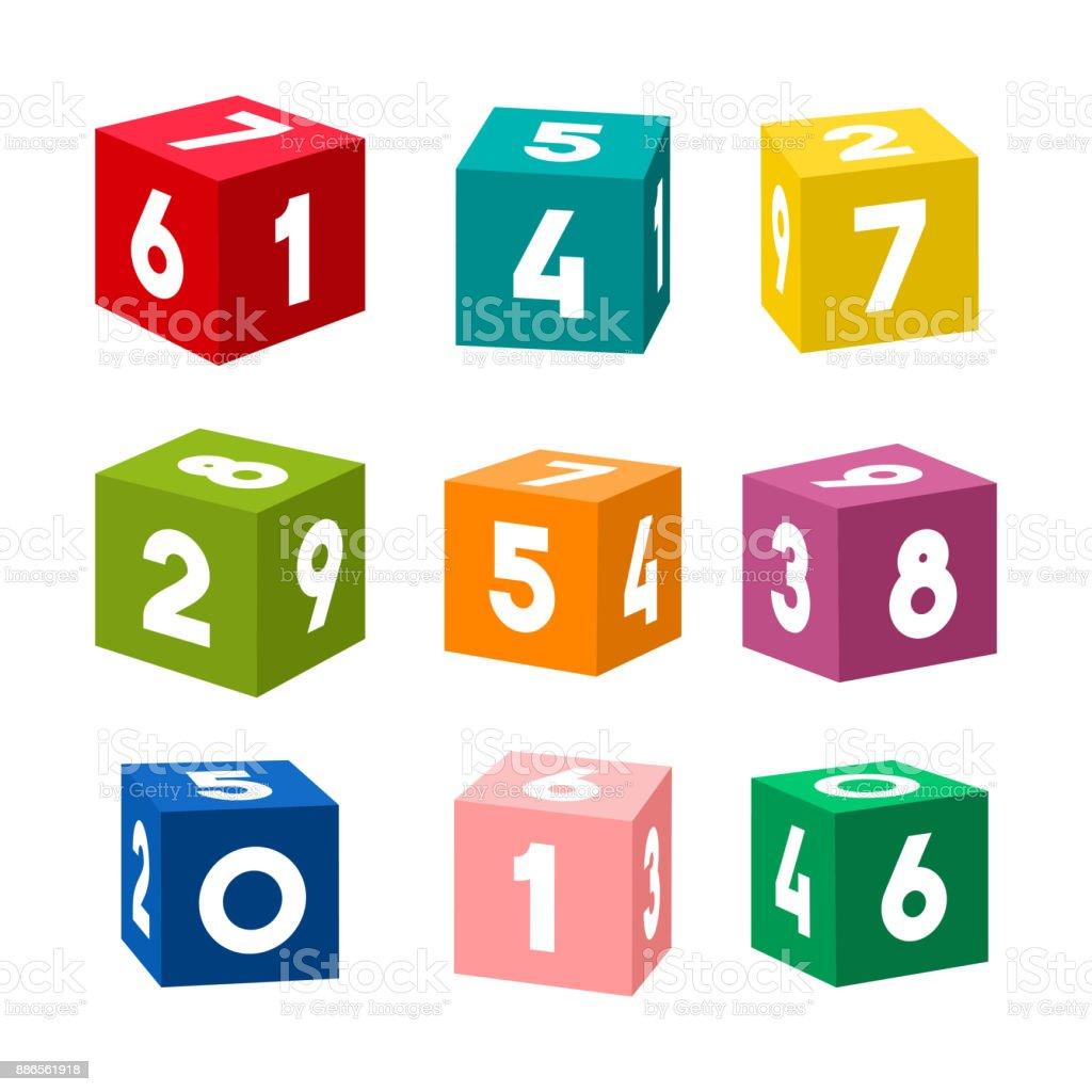 Conjunto de ladrillos de juguete colorido con números, vector - ilustración de arte vectorial