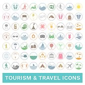 Set of colorful travel and tourism icons. Vector.