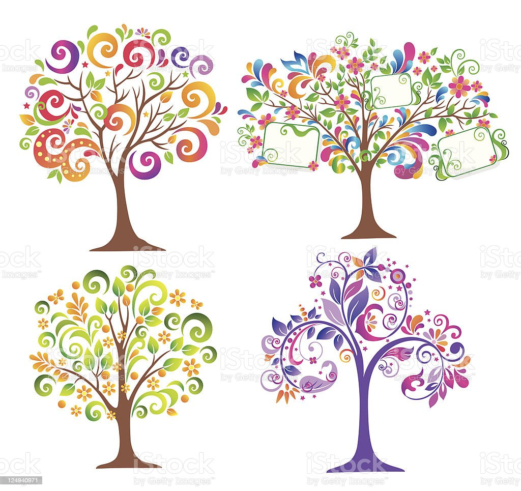 Set of colorful trees. royalty-free stock vector art