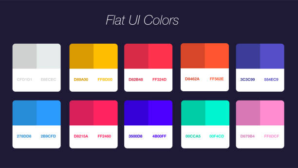 illustrazioni stock, clip art, cartoni animati e icone di tendenza di set of colorful trendy flat color template. collection palette of flat style color swatches for web design. trendy colors squares palettes - tavolozza