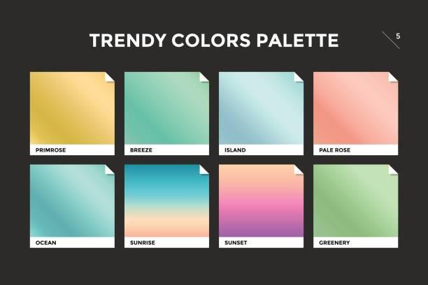 stockillustraties, clipart, cartoons en iconen met reeks van kleurrijke trendy kleurovergang sjabloon - kleurenwaaier