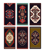 Colorful vector design for Tarot, playing cards, poker cards, reverse side. Geometric ornamental pattern, background. Abstract rectangular template with central ornament