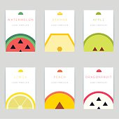 Set of colorful vector greeting card design with fruit background, postcard template