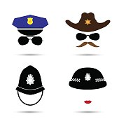 Set of colorful vector icons isolated on white. Policeman icon.  Sheriff icon. Cowboy icon. British police helmet