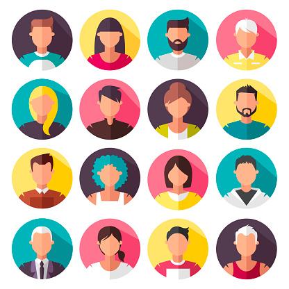 Vetores de Conjunto De Ícones Coloridos De Vetor Pessoas e mais imagens de Adolescente