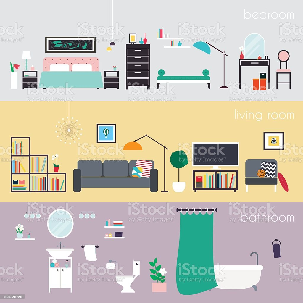 Set of colorful vector interior design house rooms with furnitur vector art illustration