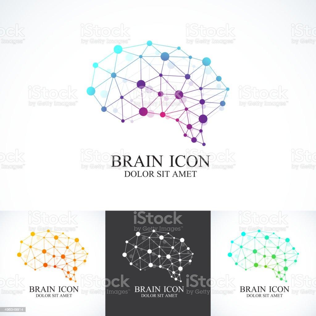 Set of Colorful Vector Template Brain . Creative concept design icon vektör sanat illüstrasyonu