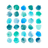 Set of colorful vector watercolor hand painted round shapes, stains, circles, blobs isolated on white. Illustration for artistic design